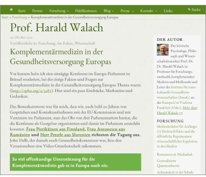 "Abbildung: Prof. Harald Walach über die ""EU CAM Conference""."
