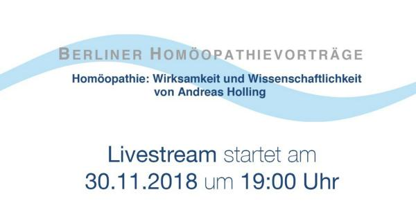 Livestream am 30.11. – Homöopathie: Wirksamkeit und Wissenschaftlichkeit Vortrag von Andreas Holling